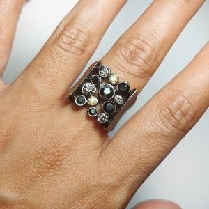 G by Guess Black Gunmetal Rhinestone Cocktail Ring